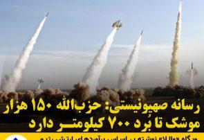 رسانه صهیونیستی: حزب_الله ۱۵۰ هزار موشک تا بُرد ۷۰۰ کیلومتر دارد